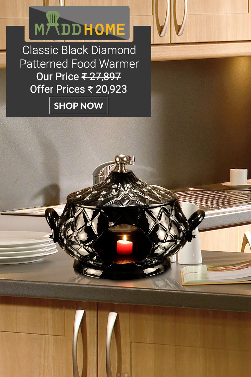 CLASSIC BLACK #DIAMOND PATTERNED #FOOD #WARMER is a royal design piece that brings a perfect dining experience