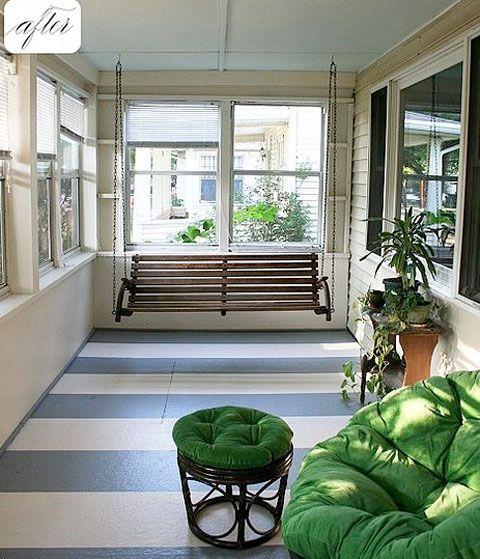 #Decorar suelos con rayas - Porche #suelo_rayas #stripe_floors