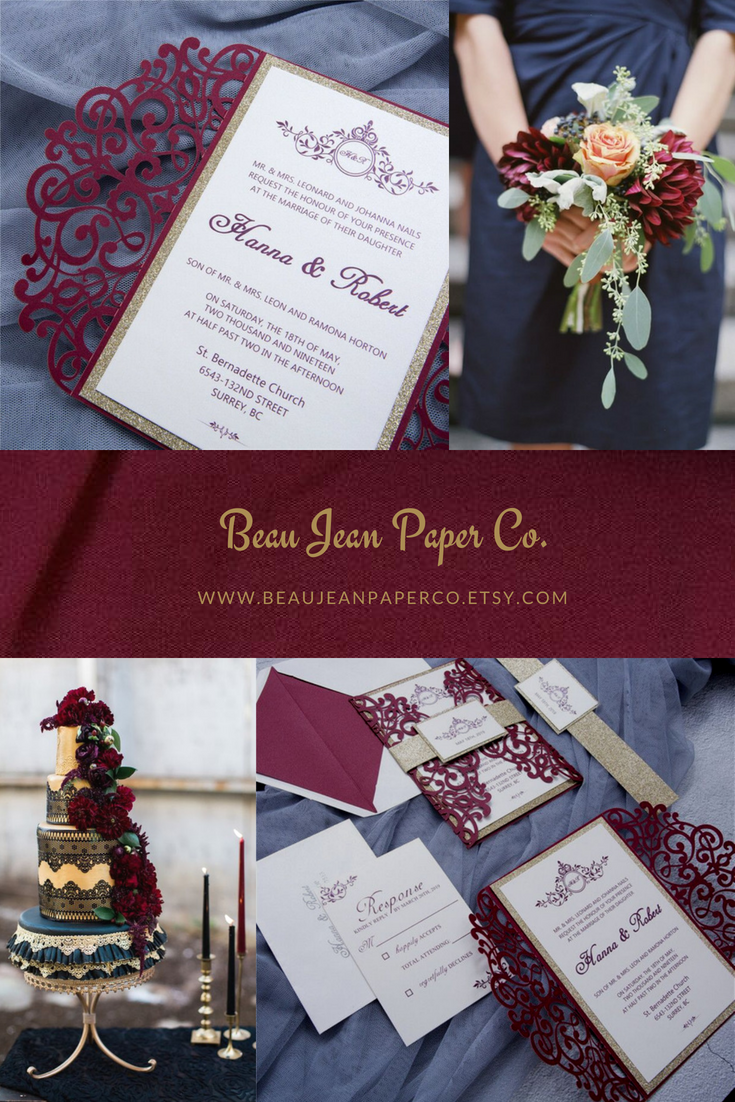 Burgundy and Gold Wedding Invitation Pocket, Classic Gold Bow ...