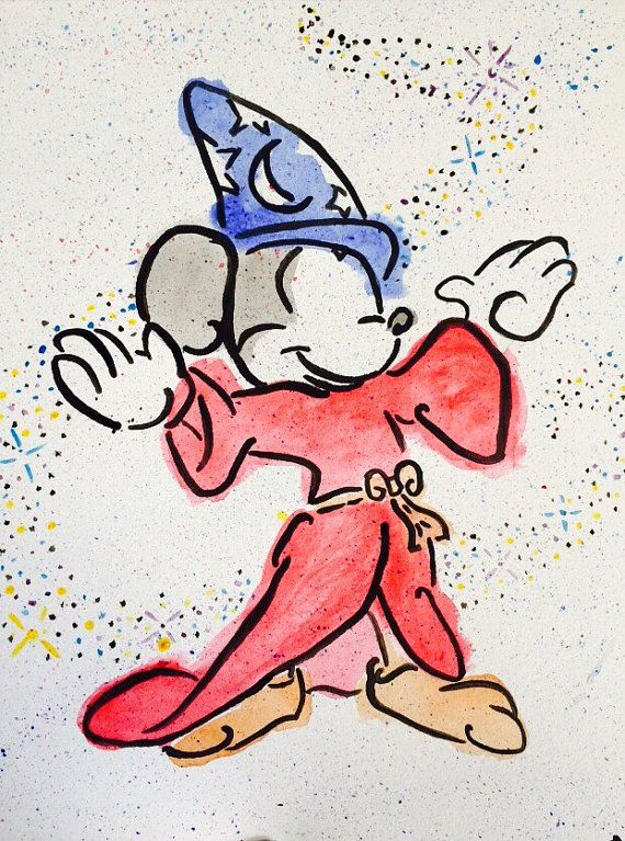 Sorcerers Apprentice Mickey Mouse In Watercolor Watercolor Disney Disney Paintings Mickey Tattoo