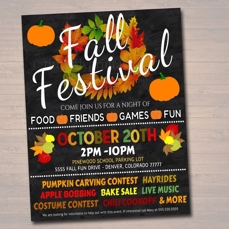 EDITABLE Fall Festival Fall Harvest Flyer/Poster Printable