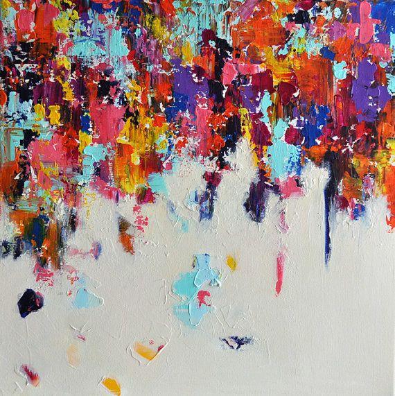 Falling Rainbow 2 Original Modern Abstract Painting Winter Rain 16x16