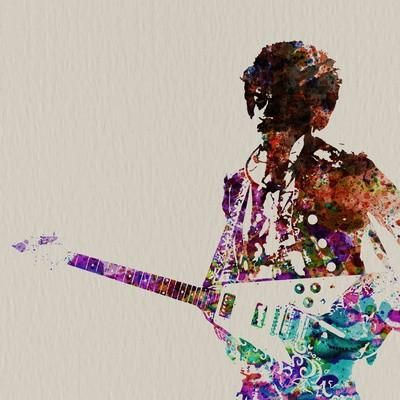 Hendrix With Guitar Watercolor Art Print by NaxArt at Art.com
