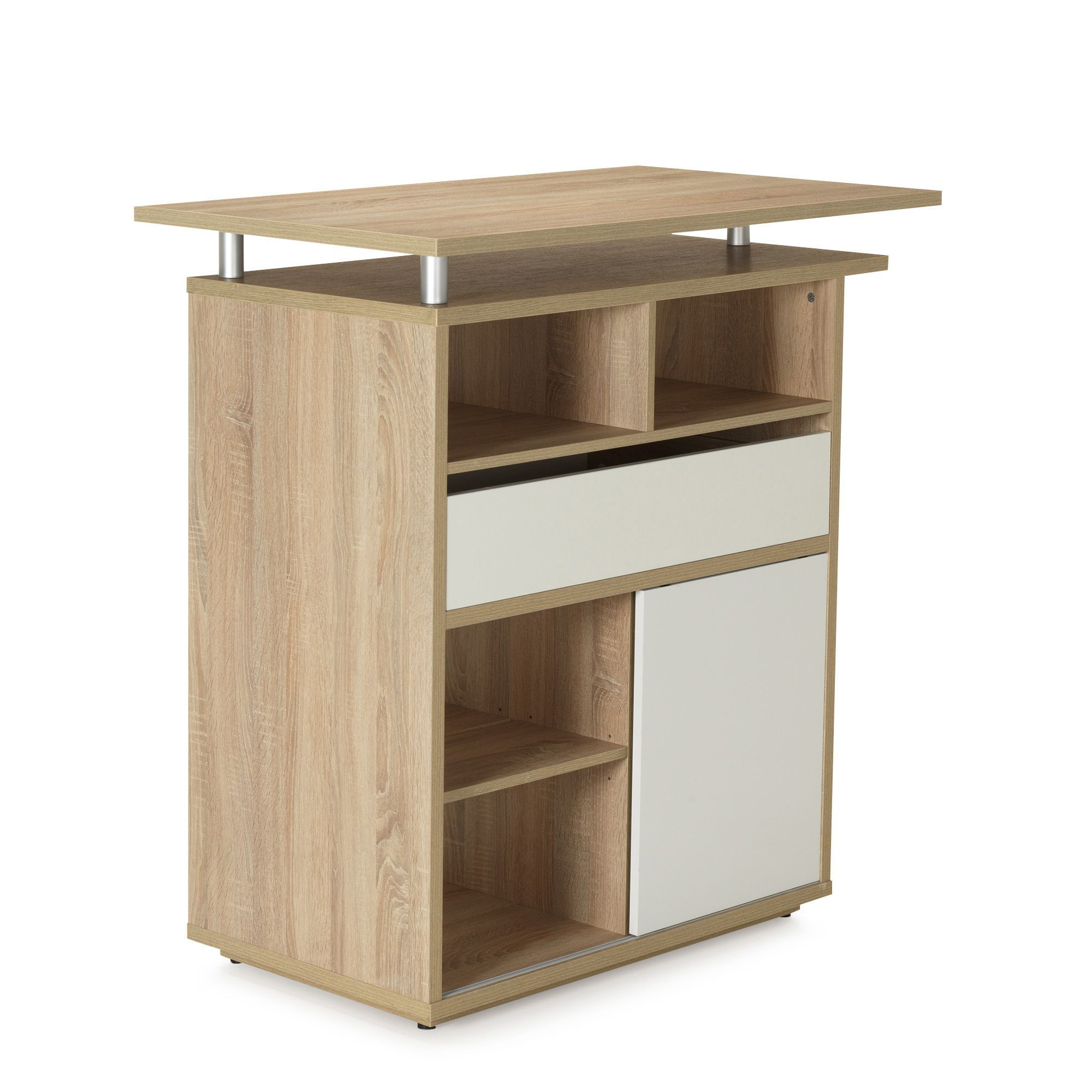 Alinea Meuble Scandinave Meuble Snack Bar Au Design Scandinave Imitation Chêne Blanc