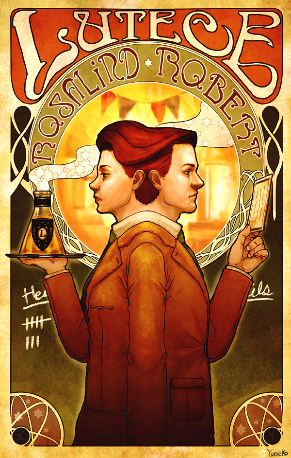 "The time-travelling Lutece ""Twins"" Rosalind and Robert from Bioshock Infinite by S-yumeko. ""Same coin, a different perspective."" Their quote hints at their secret: that they are multiverse doubles from different universes, identical except for gender."