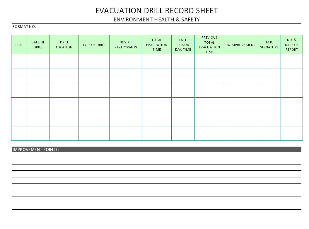 Fire Drill Template Fire Drill Log Template