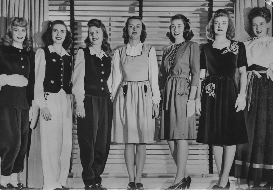 567bfcf1e9 An array of styles on display during a wartime fashion show, 1943. #vintage  #fashion #1940s #WW2