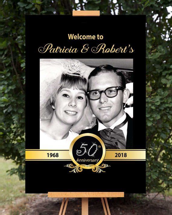 Photo Anniversary Welcome Sign, 50th Anniversary Party Sign, Wedding Anniversary Poster, Printable Anniversary Poster, Personalized Decor