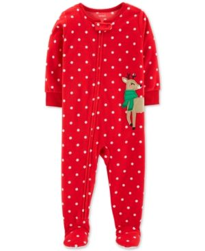 Carter s Baby Girls Fleece Reindeer Pajamas - Red 18 months ... eabdb5732