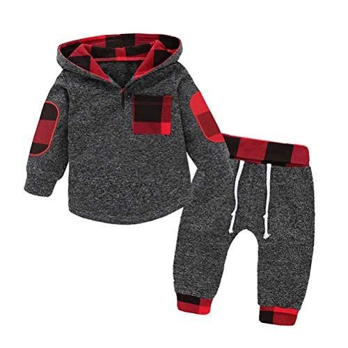 7c370a078 Baby Boys Outfits 2PCS Clothes Set Long Sleeve Plaid Hoodie Shirts ...