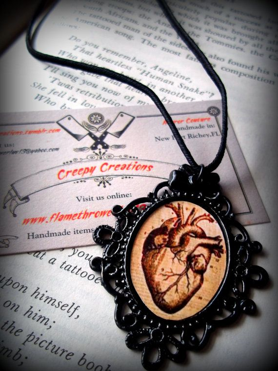Anatomical Heart necklace by Flamethrowerluv13 on Etsy, $11.99