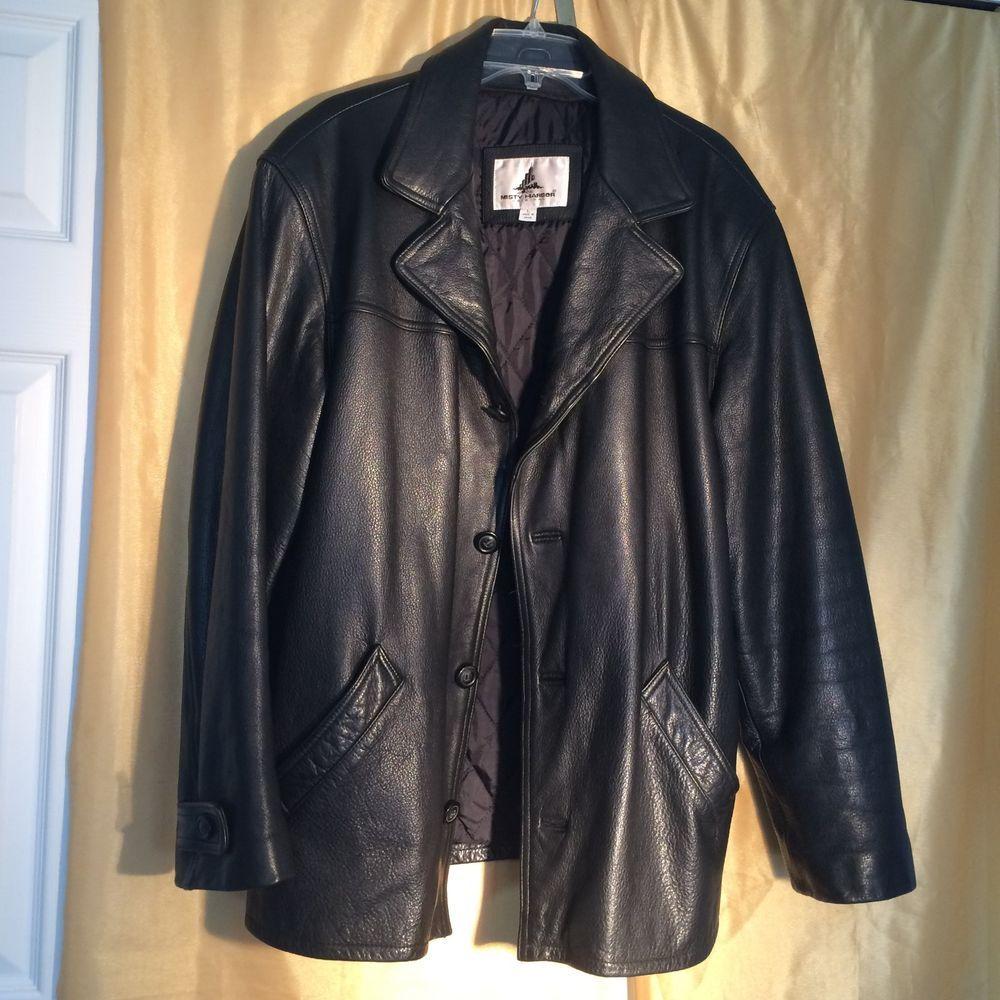 Men S Misty Harbor Original Black Leather Jacket Lined Large Button Up Coat Mistyharbor Basicjacket Jackets Mens Jackets Basic Jackets [ 1000 x 1000 Pixel ]