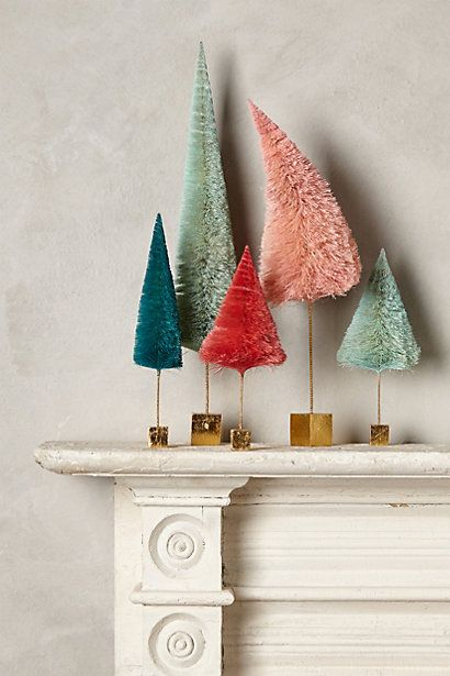 How To Decorate Your Mantle For Christmas Bottle Brush Christmas Trees Christmas Tree Decorations Inexpensive Christmas Christmas Decorations
