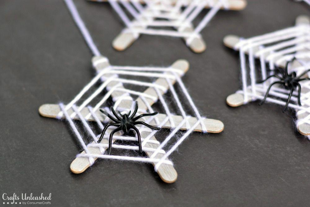 halloween crafts for kids craft stick spiderwebs