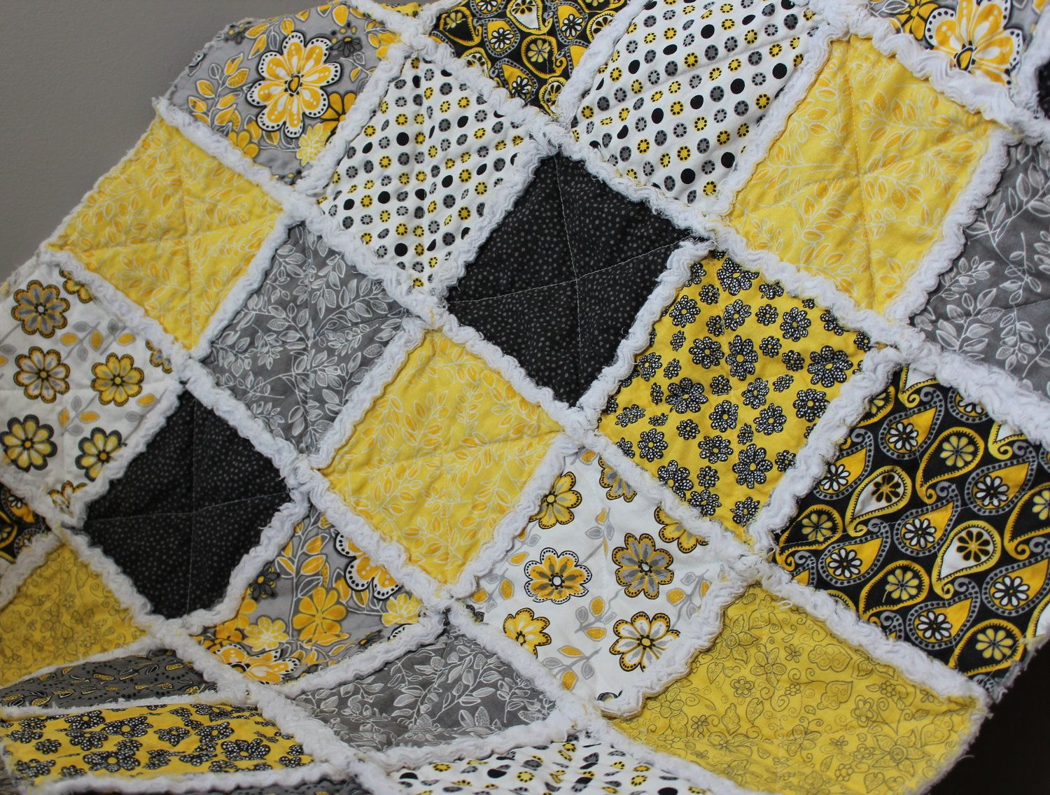 Throw Quilt In Yellow Gray White And Black Rag Quilt Baby Rag