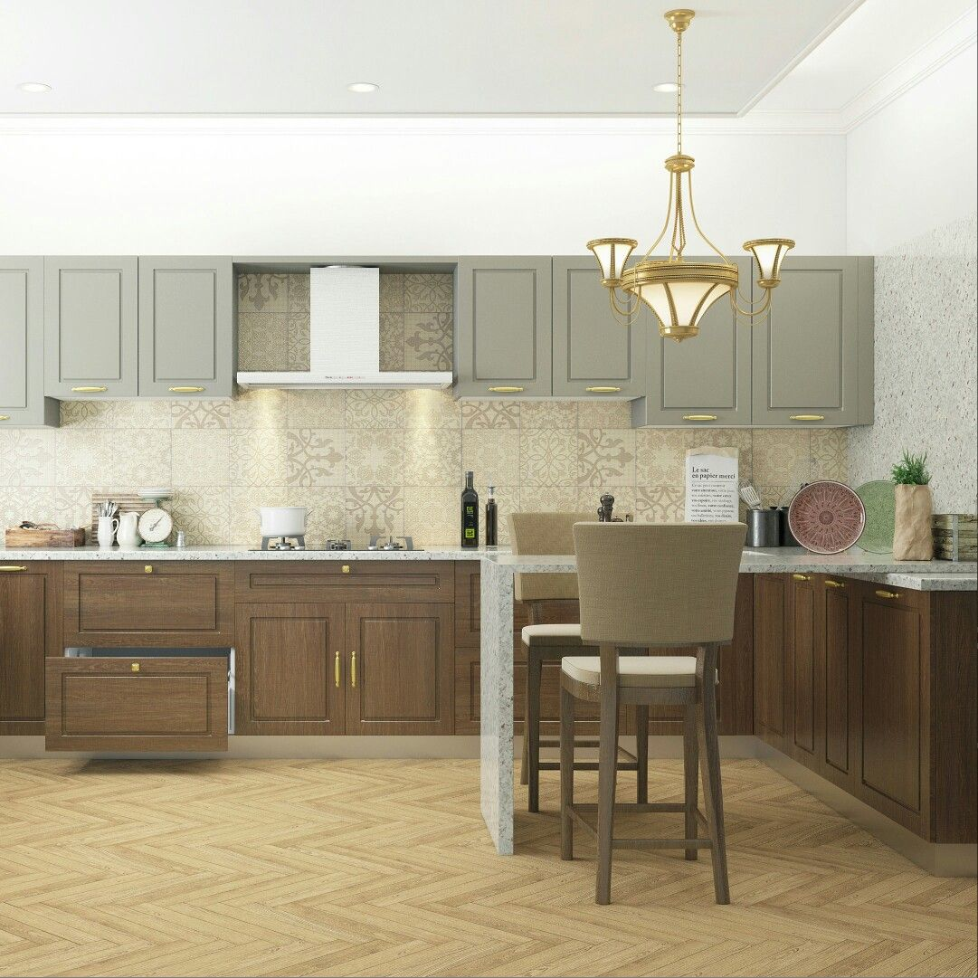 An English Style Kitchen With A Breakfast Counter Brown Kitchens Kitchen Design Trends Best Flooring