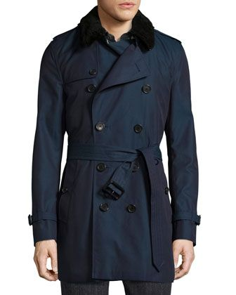 Gabardine+Modern-Fit+Trench+Coat+with+Shearling+Top-Collar,+Teal+Blue+by+Burberry+at+Neiman+Marcus.