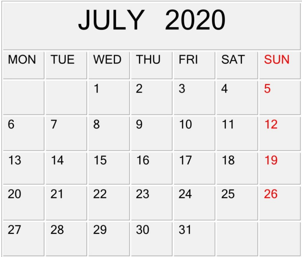 July 2020 Calendar Customizable Template Design