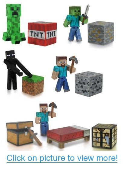 Minecraft 3 Figure Set Of 5 w/ Steve Enderman Creeper Zombie $ Survival Pack #Minecraft #Figure #Set #w_ #Steve #Enderman #Creeper #Zombie # #Survival #Pack