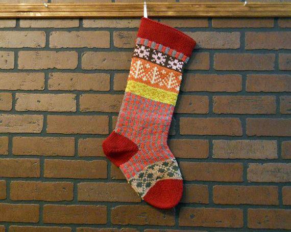 Hand Knit Christmas Stocking with Red Cuff, Pink Snowflakes and ...