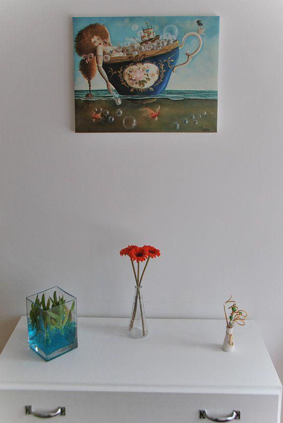 Naufragio Perfecto - Reproducción en lienzo 40x50cm - Así queda puesto en pared sobre bastidor desnudo