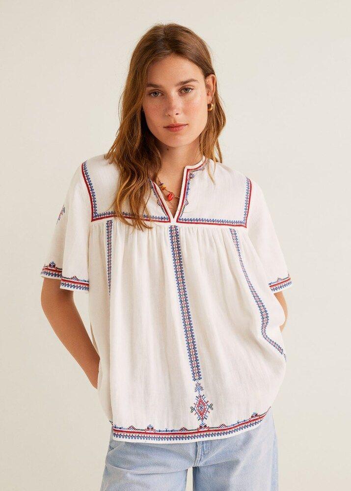 Photo of MANGO skjorte & # 39; Indigo & # 39; kvinner, blå / rød / hvit melange, størrelse XS