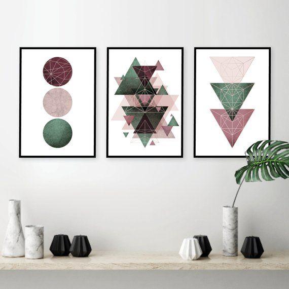 Download Posters Geometric, Burgundy Green Blush Wall