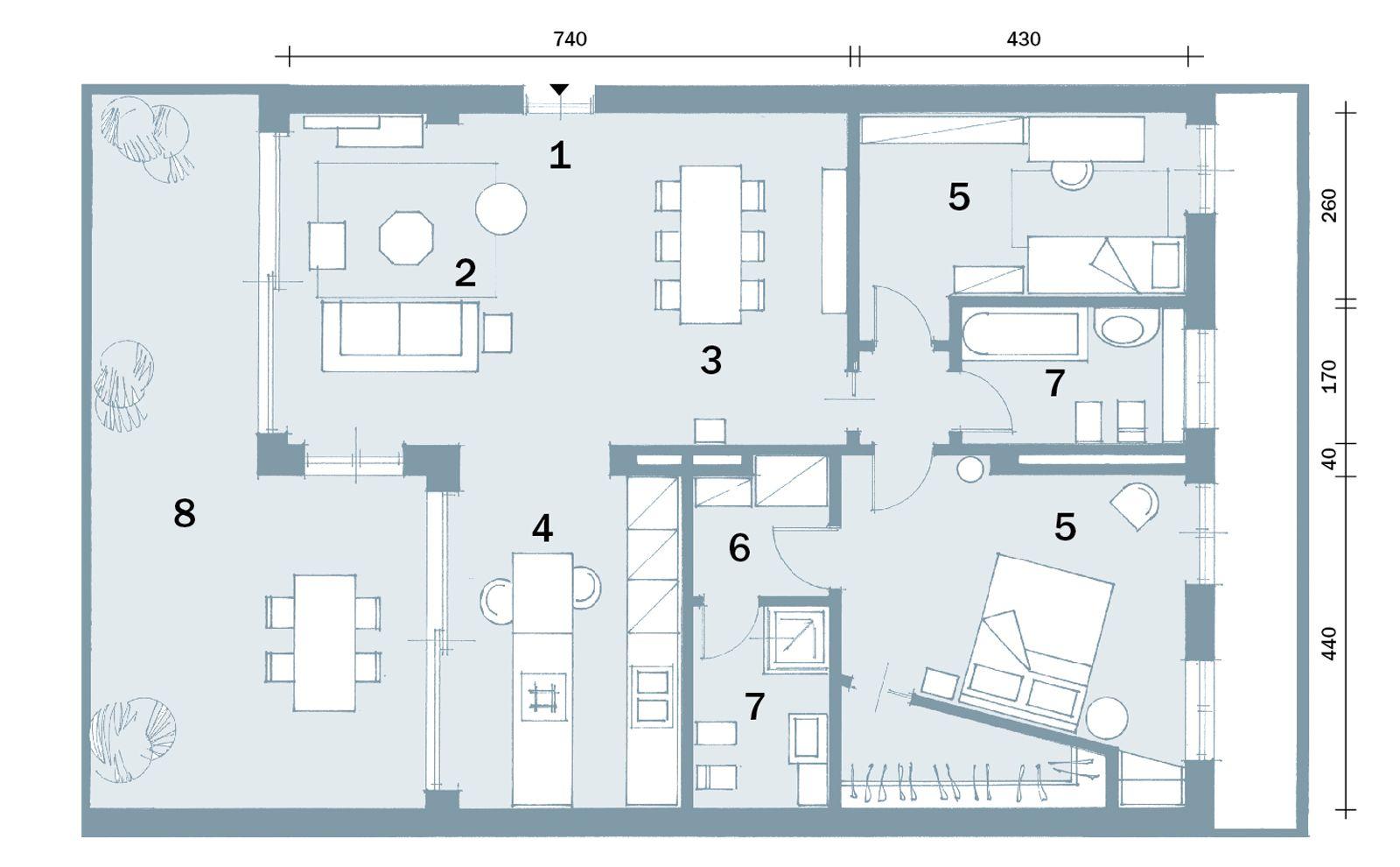 Progetto Appartamento 85 Mq open space contemporaneo: una casa di 100 mq che sembra più