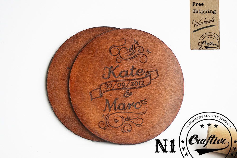 3rd Leather Anniversary Gift,Personalized Leather Coasters