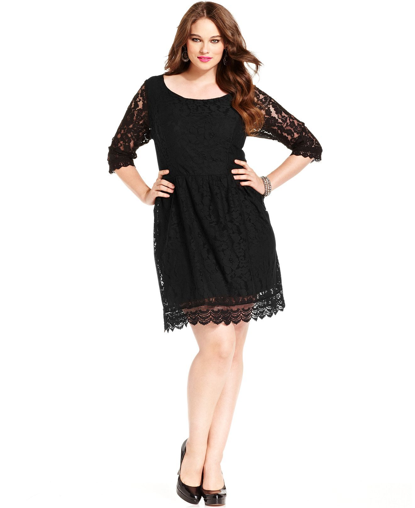 Love Squared Plus Size Dress Three Quarter Sleeve Lace A Line