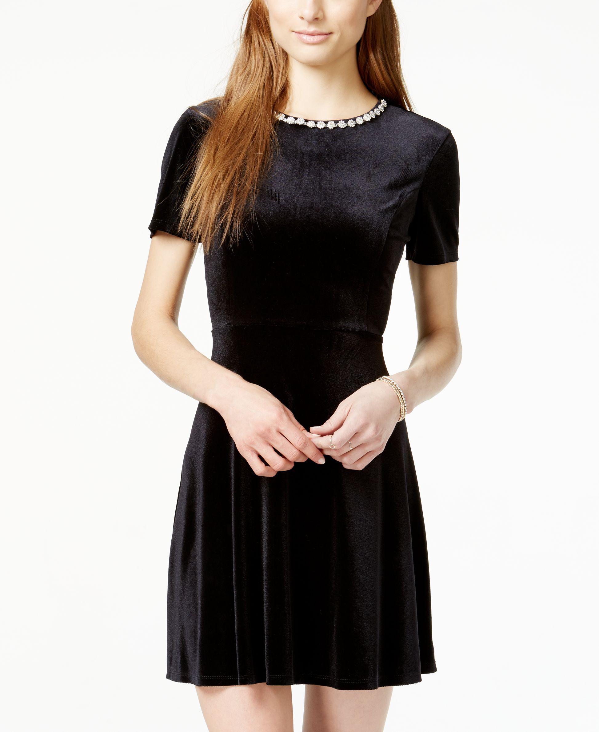 cd4a0775c8b One Clothing Juniors  Embellished Velvet Skater Dress - Juniors Dresses -  Macy s Little Black Cocktail