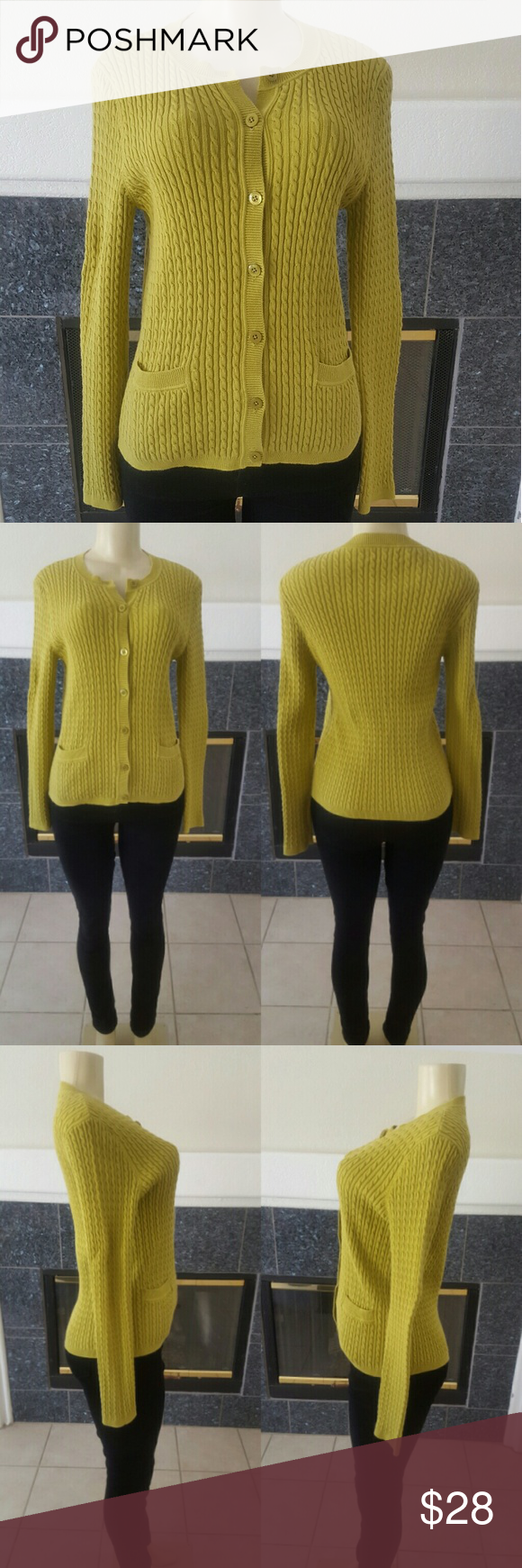 Lime Green Cardigan Sweater Jones NY Signature | Limes and ...