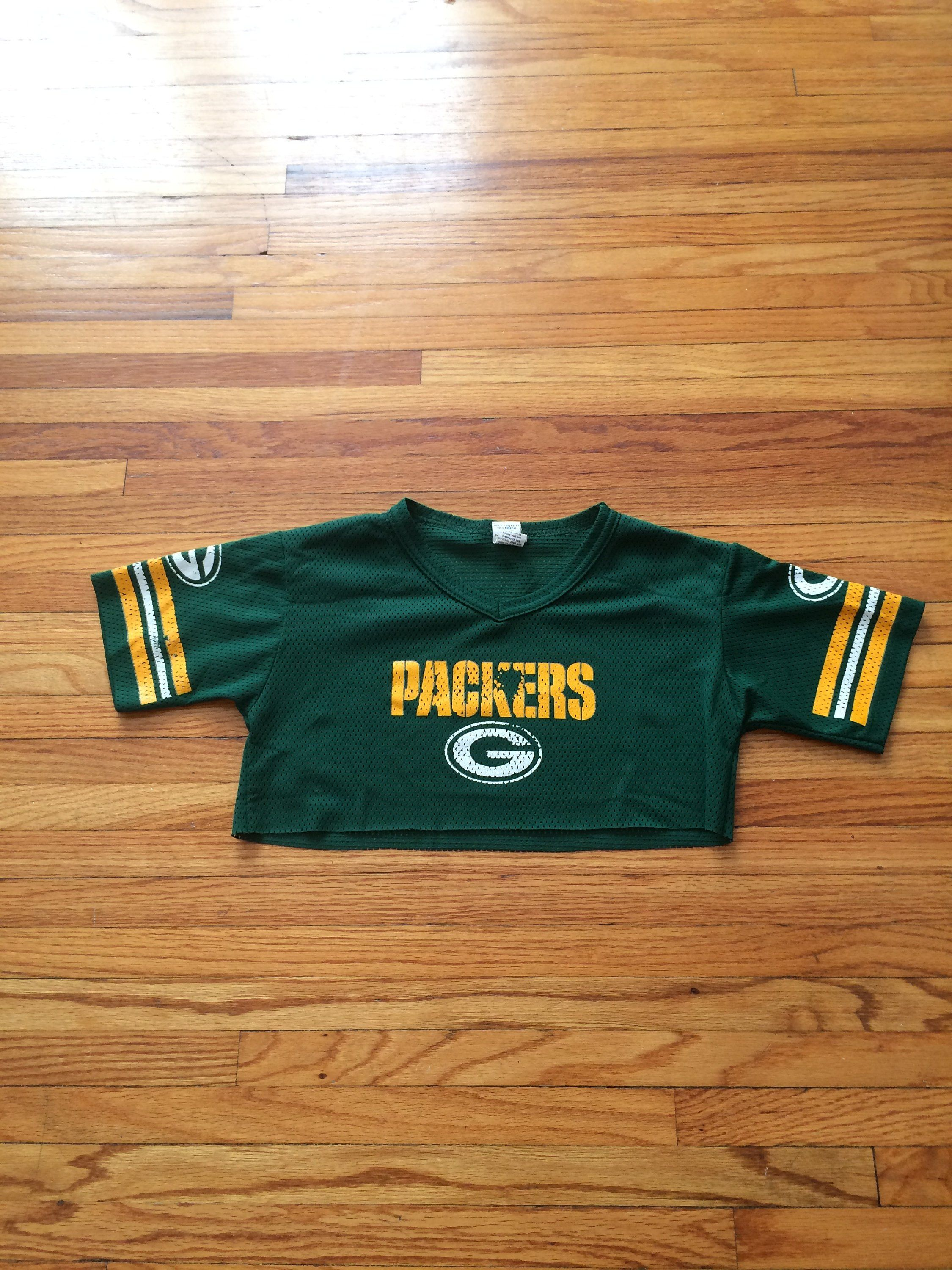 Vintage Green Bay Packers Short Sleeve Franklin Crop Top Nfl Football Jersey Free Shipping By Vintagevanshop On Etsy Crop Tops Women Mens Tops Tops
