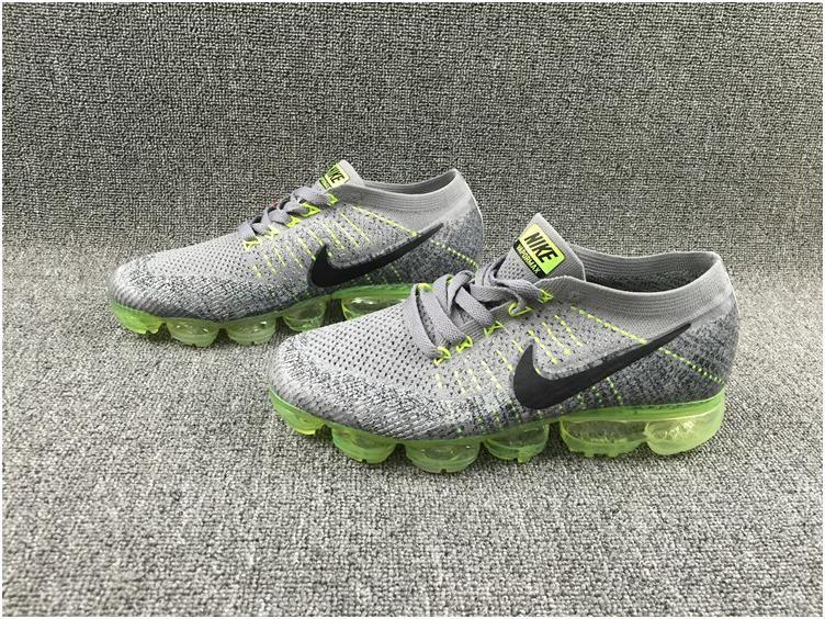 2d8542cc611b Nike Flyknit Air VaporMax 2018 Men s Running Shoes Grey Green Black5 ...
