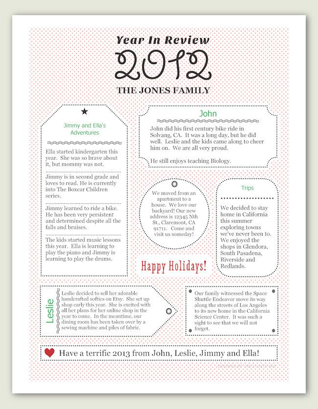 A Year In Review  Christmas Letter Pdf Template  Gift Tag