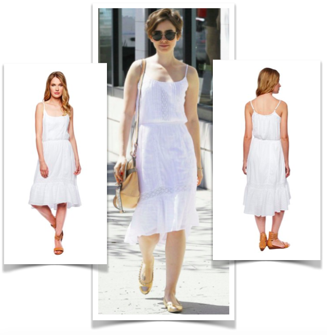Lily Collins in Ella Moss Blanca Cami Lace white dress $228