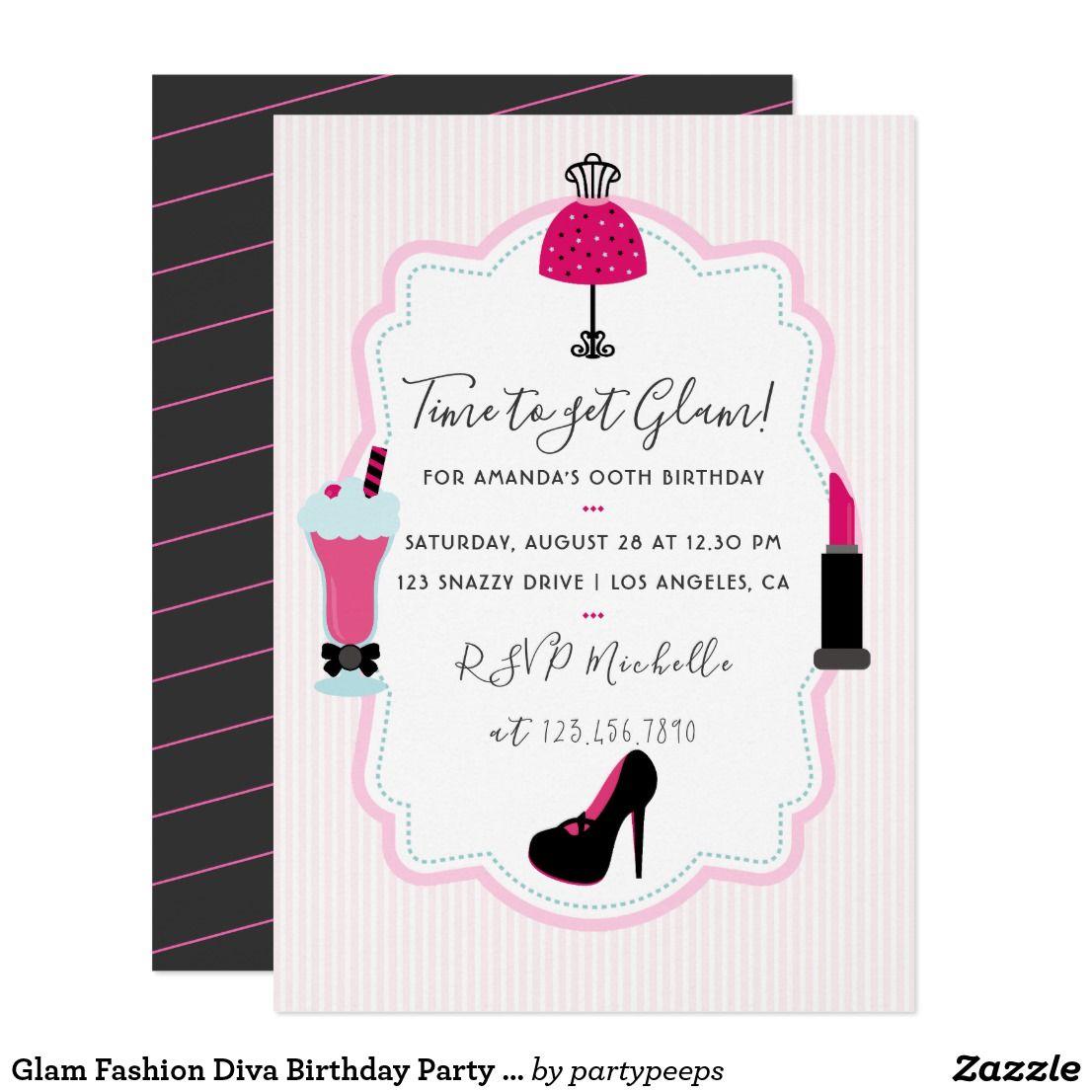 Glam Fashion Diva Birthday Party Invitation Cool Diva Fashion Show ...