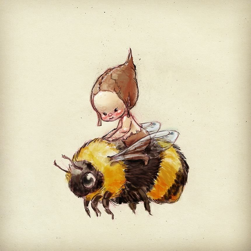 just a gnome riding a bumble bee           #fairy#fairytale