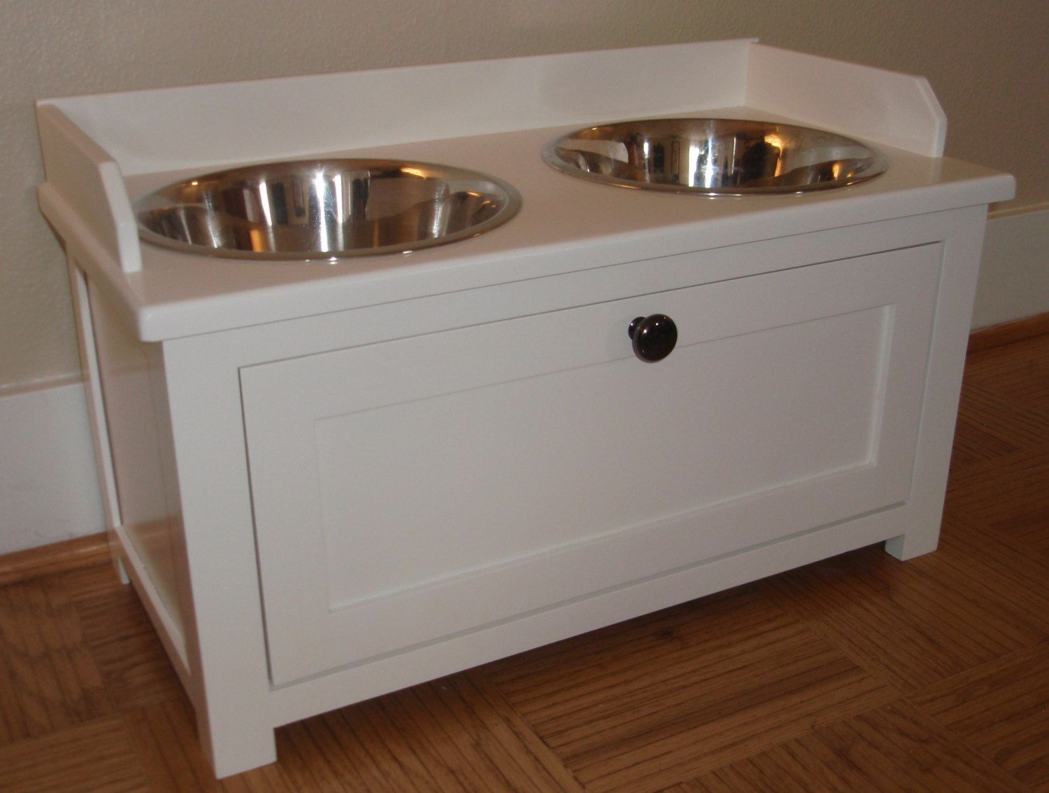 Raised Dog Feeder 55 00 Via Etsy Dog Food Station Dog