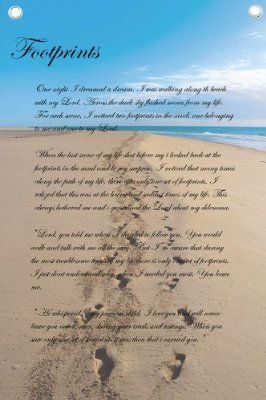 Footprints In The Sand Poem Wall Quotes Canvas Banner Crafty