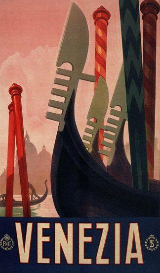 Venezia Venice Gondola Italy Italia | Mad Men Art | Vintage Ad Art Collection