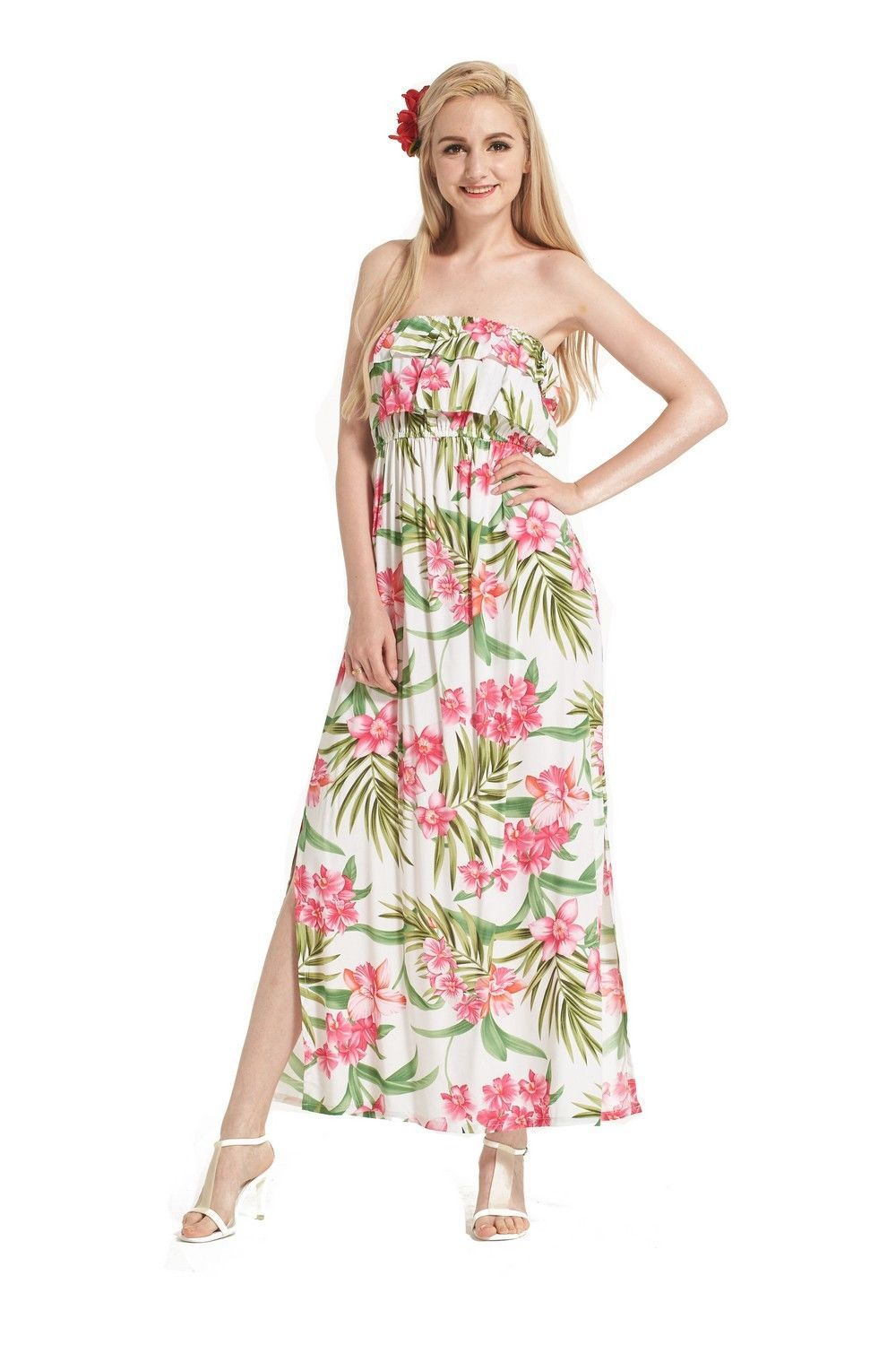 76d224221ad2 Made In Hawaii Women s Hawaiian Luau Off Shoulder Dress Ruffle White Floral