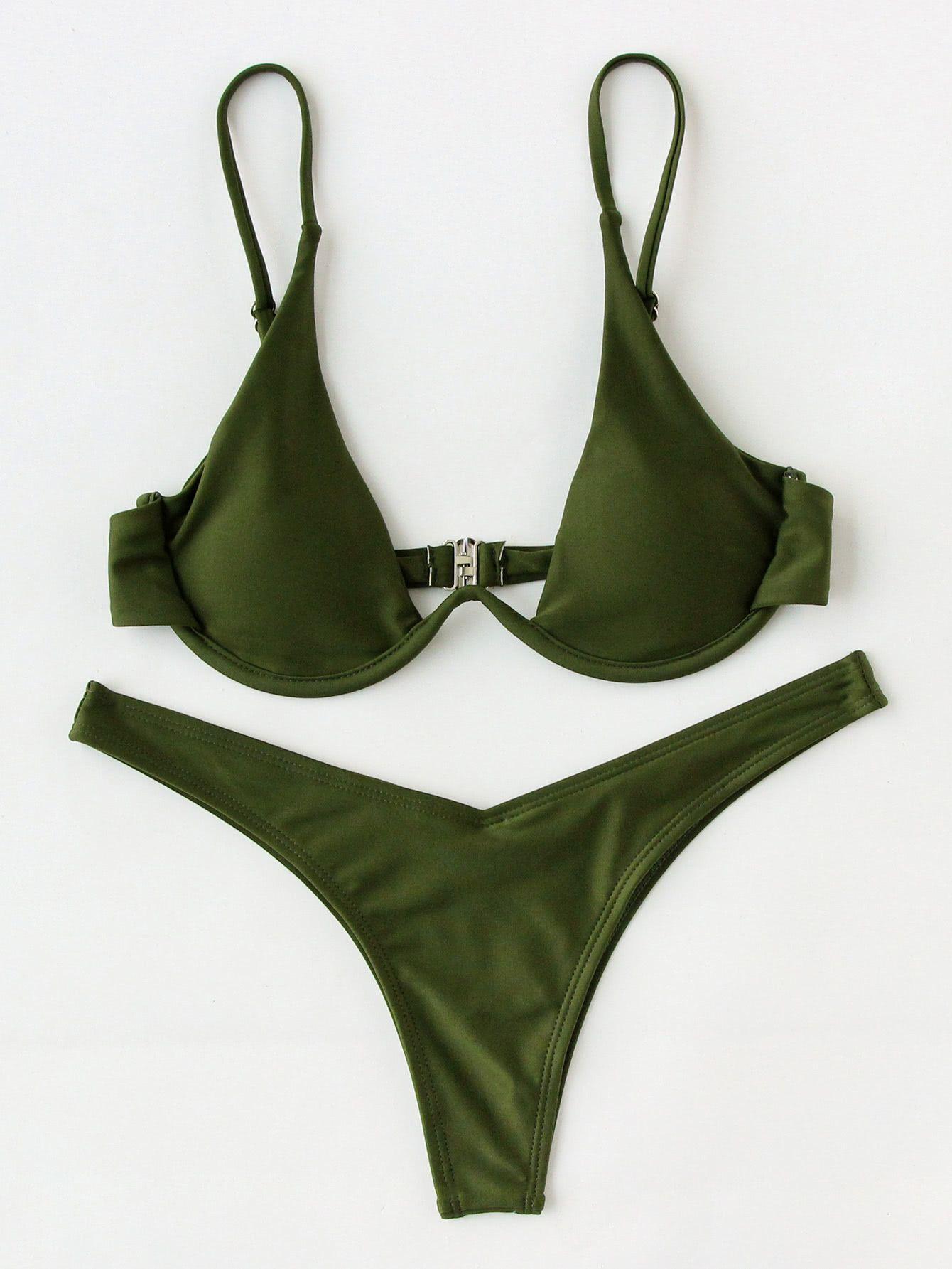 1e5058c0f8d0f Underwire Top With High Leg Bikini Set in 2019   My Style   Bikinis ...
