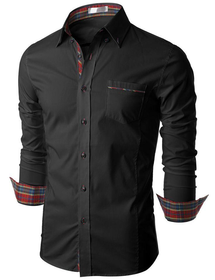 Doublju Mens Long Sleeve Button Down Dress Shirt (KMTSTL0160 ...