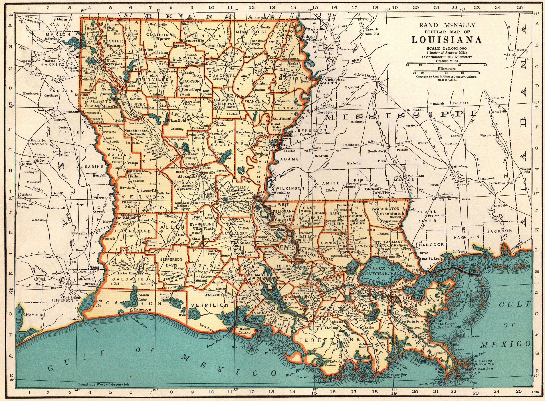 1940 Vintage LOUISIANA Map of Louisiana State Map Gallery ...