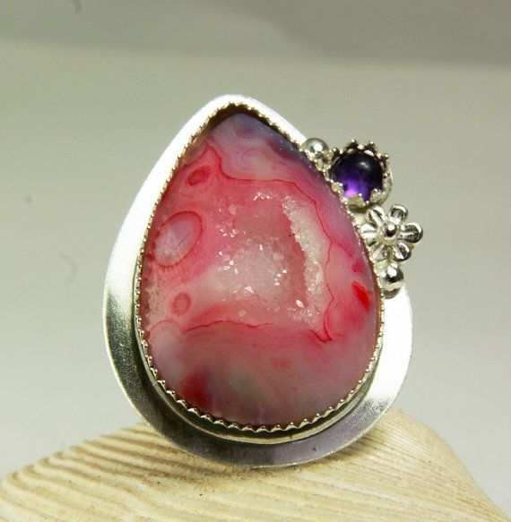 Pink Druzy Ring Sterling Silver Purple by TazziesCustomJewelry