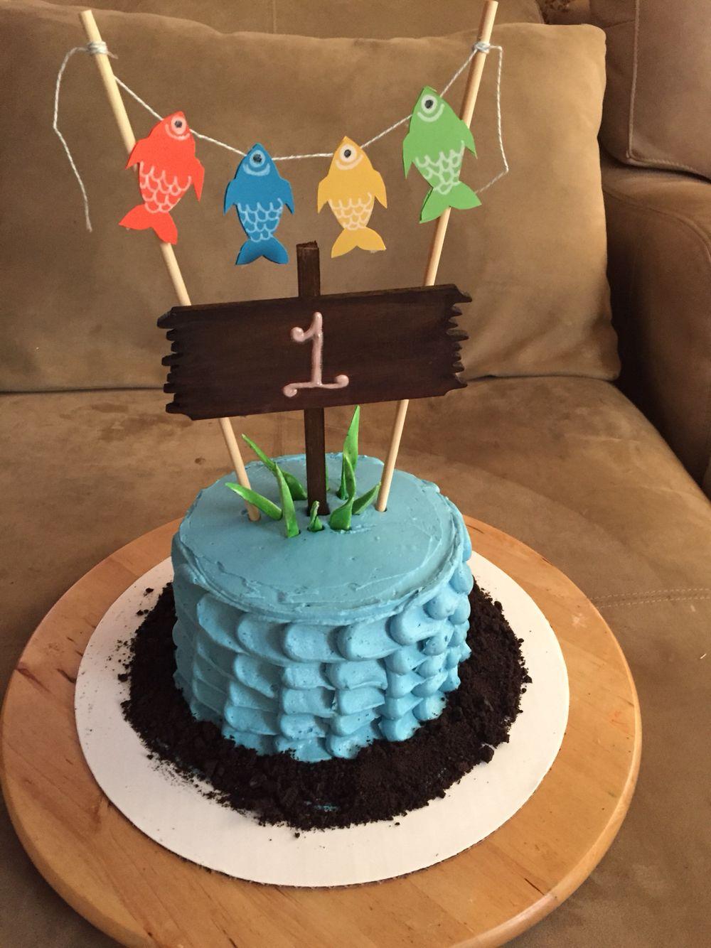 Gone fishing smash cake cakes by kristen pinterest for Fishing birthday cake