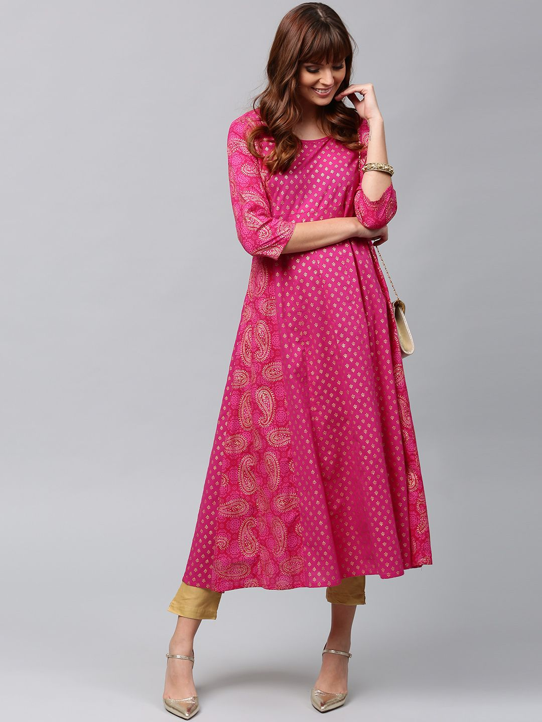 de2a9e4db Buy AKS Women Pink   Gold Toned Printed Anarkali Kurta - - Apparel for  Women from AKS at Rs. 999