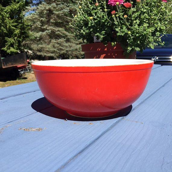 Vintage Pyrex Large Primary Color Red Bowl 404 by TazamarazVintage ...