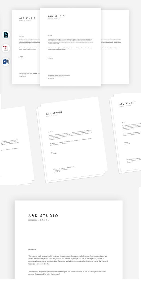 professional minimal letterhead templates. It's a modern